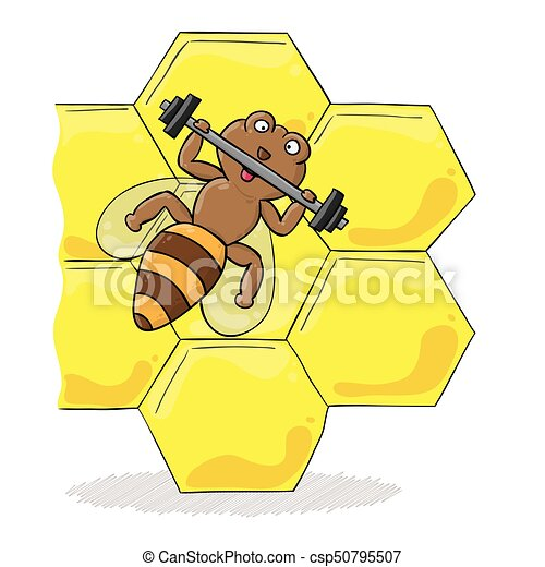 bee with dumbbell - csp50795507