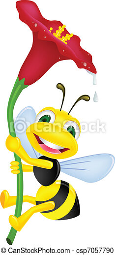 Bee with flower - csp7057790
