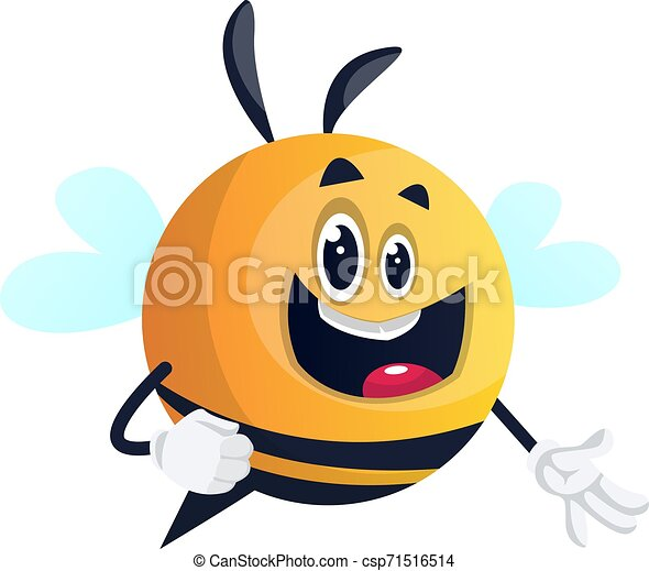 Bee with happy face, illustration, vector on white background. - csp71516514