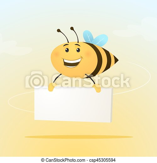 Bee with sign - csp45305594