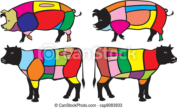 beef and pork cuts - csp9083933