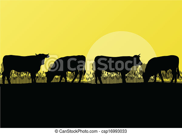 Beef cattle and milk cow herd countryside farm in wild nature mountain forest landscape illustration background vector - csp16993033