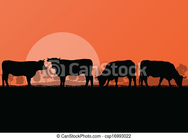 Beef cattle and milk cow herd countryside farm in wild nature mountain forest landscape illustration background vector - csp16993022