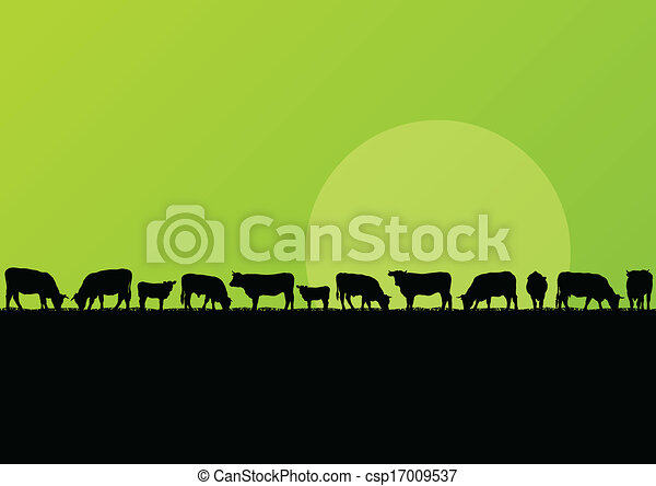 Beef cattle and milk cow herd in countryside field landscape illustration background vector - csp17009537