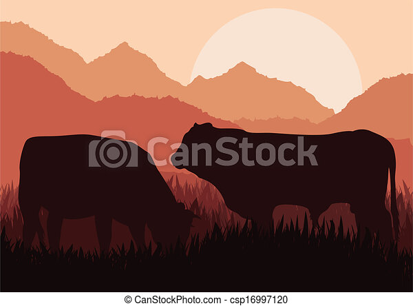 Beef cattle in wild nature landscape - csp16997120