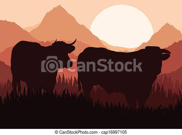 Beef cattle in wild nature landscape - csp16997105