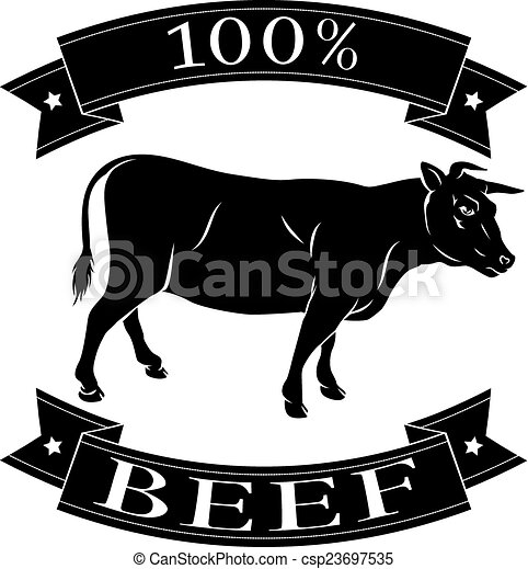 Beef cow 100 percent label - csp23697535