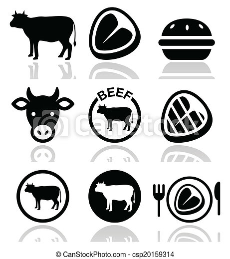 Beef meat, cow vector icon set - csp20159314