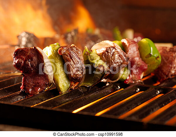 beef shishkababs on the grill - csp10991598