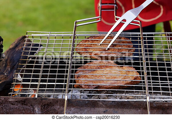 beef steak grilled on a barbecue - csp20016230