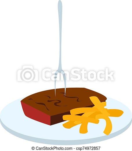 Beef steak, illustration, vector on white background. - csp74972857