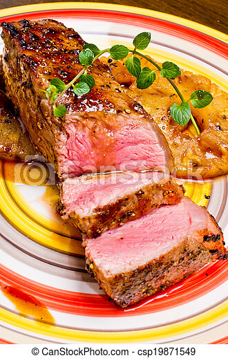 Beef steak with pineapples - csp19871549