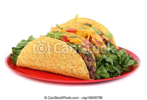 beef tacos plate - csp16649798
