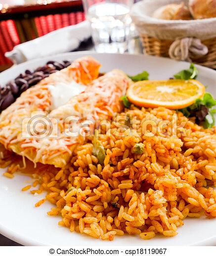 beef tacos served - csp18119067
