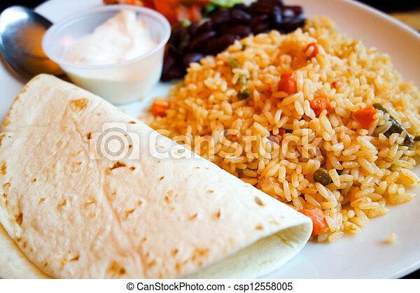 beef tacos served  - csp12558005