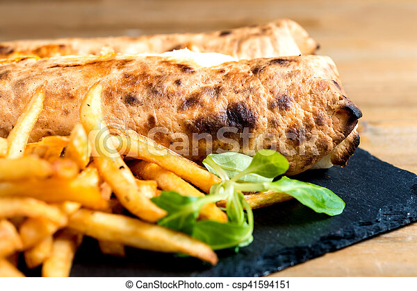 beef tacos served with golden French fries - csp41594151
