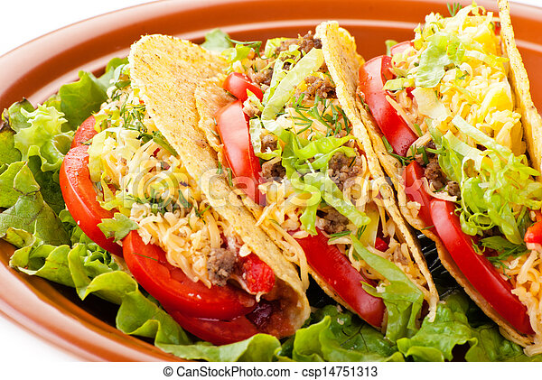 beef tacos with salad and tomatoes salsa - csp14751313