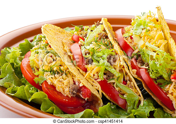beef tacos with salad and tomatoes salsa - csp41451414