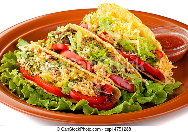 beef tacos with salad and tomatoes salsa - csp14751288