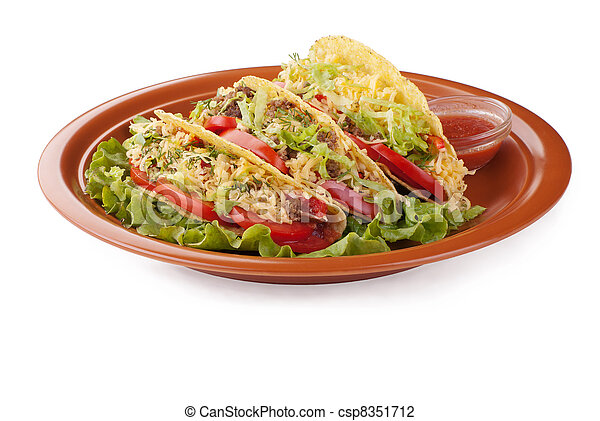 beef tacos with salad and tomatoes salsa - csp8351712