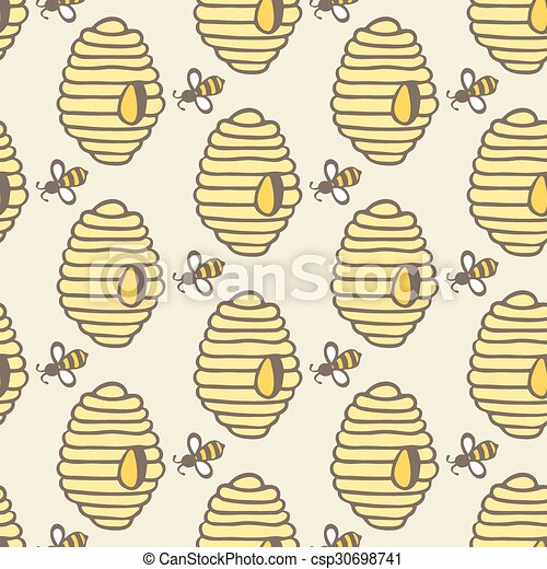 Beehive And Bee Hand Drawn Seamless Cartoon Pattern With Honey Bees Hives Vector Illustration