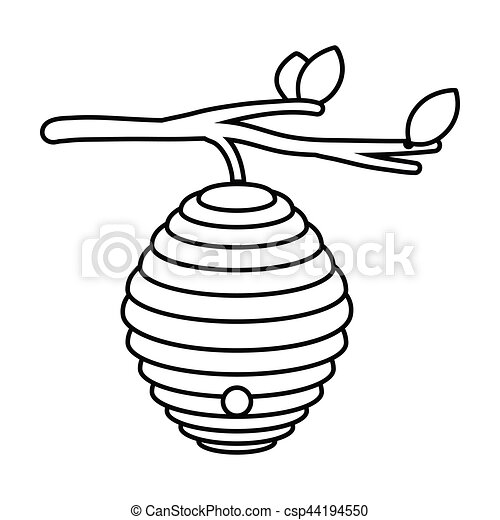 beehive icon in outline style isolated on white background rh canstockphoto com beehive clip art black and white beehive clip art black and white