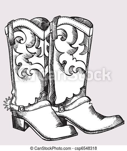 beeld, grafisch, .vector, laarzen, cowboy - csp6548318