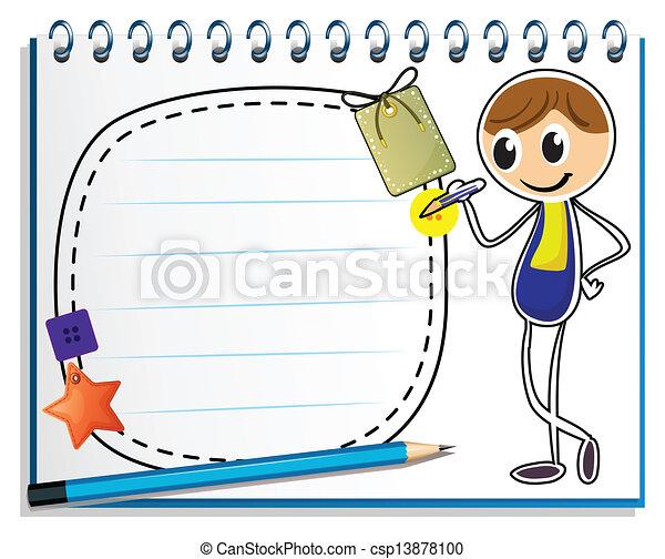 beeld, jongen, schrijvende , aantekenboekje - csp13878100