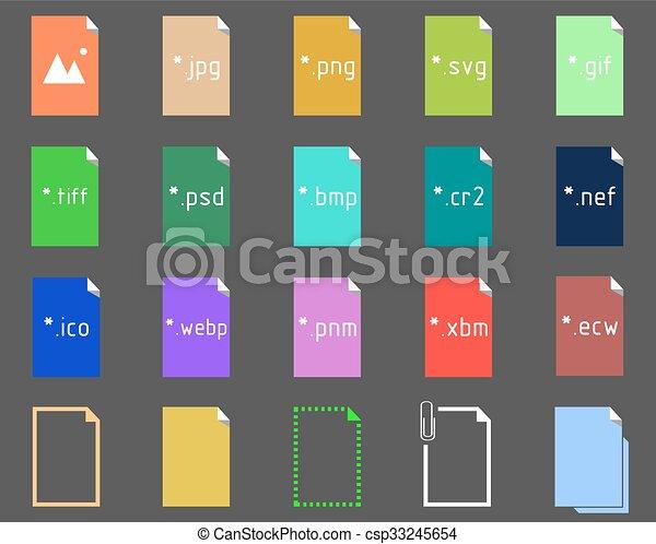 beeld, set, bestand, uitbreiding, iconen - csp33245654