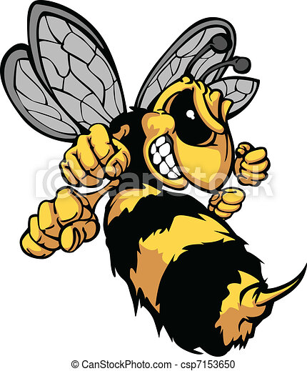 beeld, vector, spotprent, hornet, bij - csp7153650