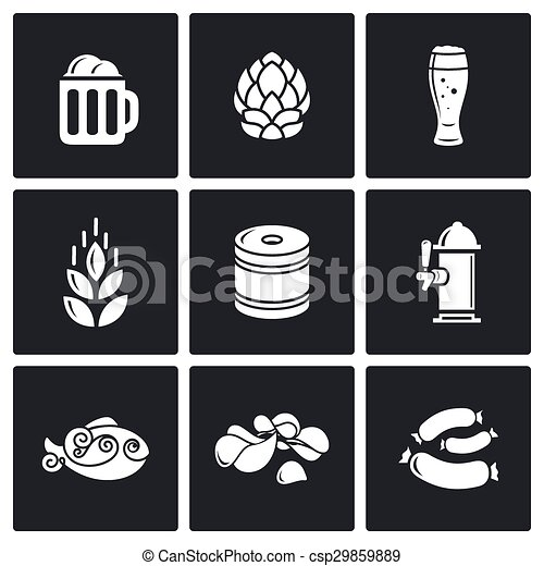 Beer and appetizer icons. Vector Illustration. - csp29859889
