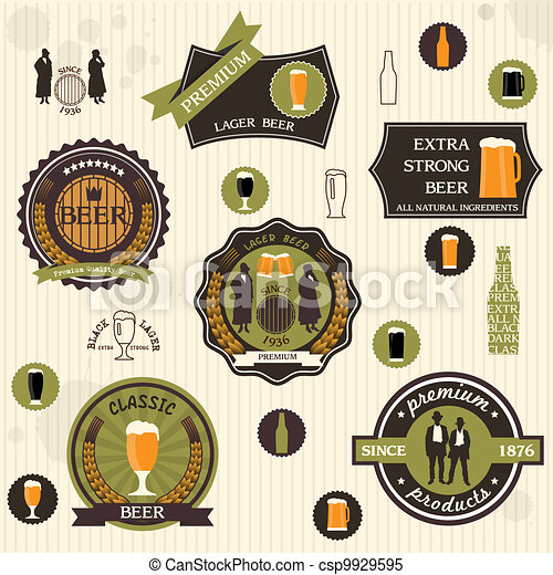 Beer badges and labels in retro style design - csp9929595
