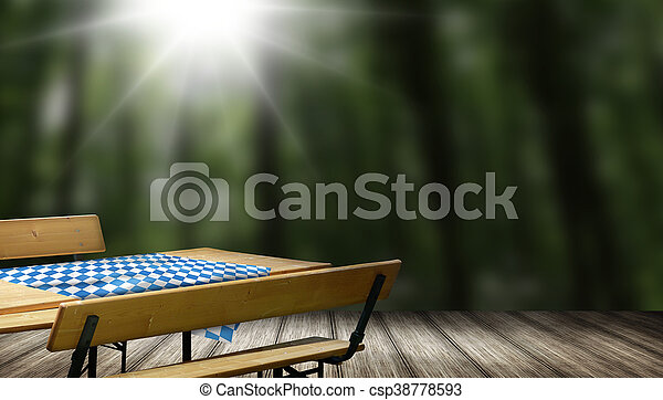 Beer bench set table and bench with backrest - csp38778593