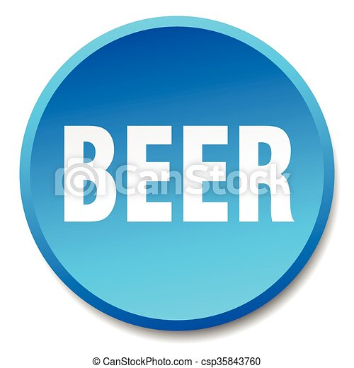 beer blue round flat isolated push button - csp35843760