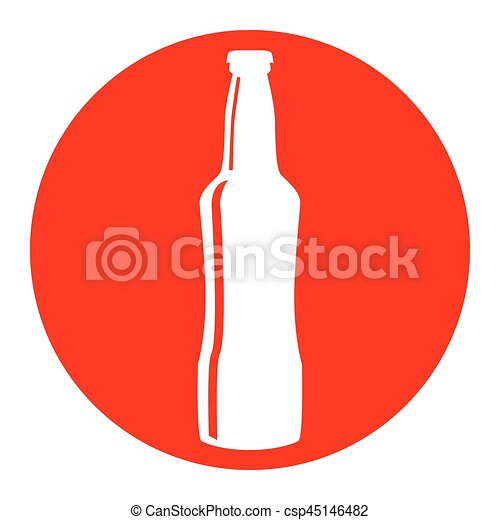Beer bottle sign. Vector. White icon in red circle on white background. Isolated. - csp45146482
