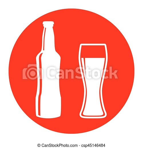 Beer bottle sign. Vector. White icon in red circle on white background. Isolated. - csp45146484