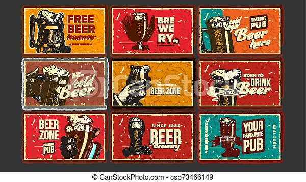 Beer Collection Advertising Poster Set Vector - csp73466149