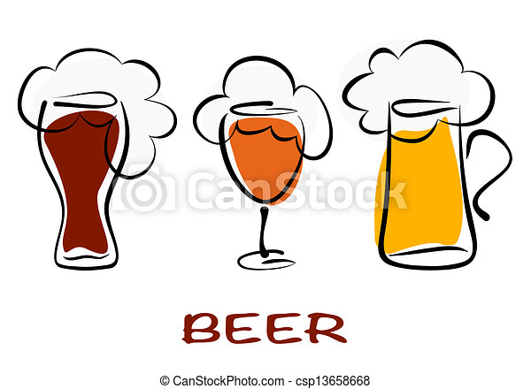 Beer collection. Three mugs of beer pint on white - csp13658668