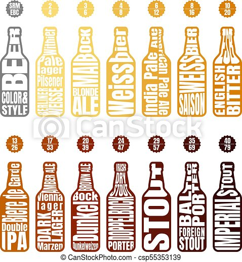 Beer Color Chart Beer Bottle With Lettering Beer Chart Infographic