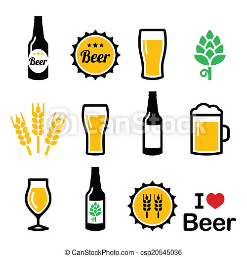 Beer colorful vector icons set - csp20545036