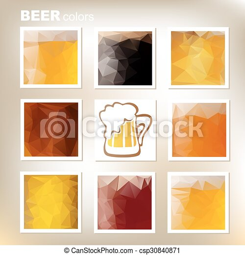 Eight polygonal frames with beer colors set.