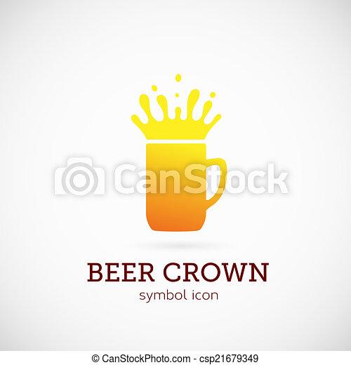 Beer Crown Vector Concept Symbol Icon or Logo Template - csp21679349