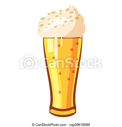 Beer glass icon, cartoon style - csp39618589