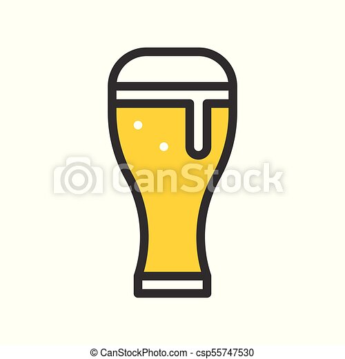 Beer glass vector, filled outline icon - csp55747530