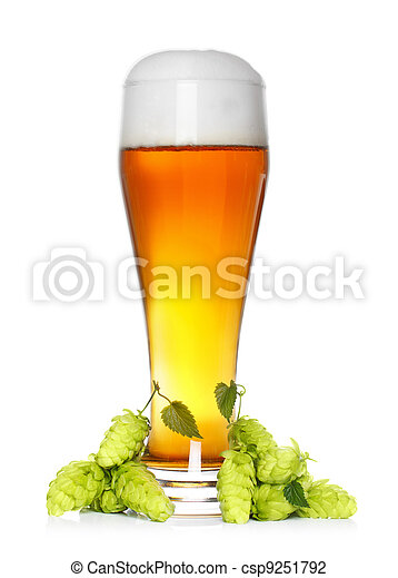beer glass with fresh green hop - csp9251792