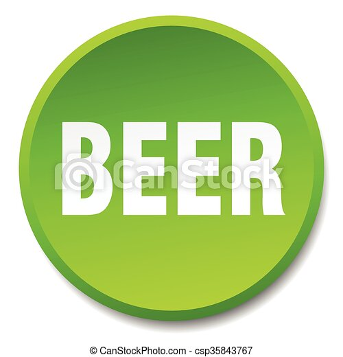 beer green round flat isolated push button - csp35843767