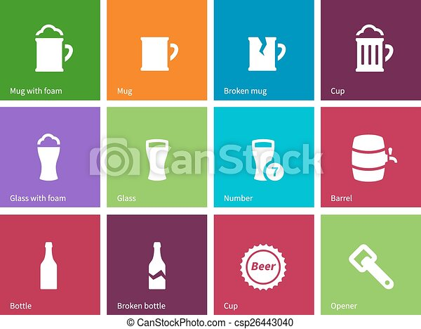 Beer icons on color background. - csp26443040