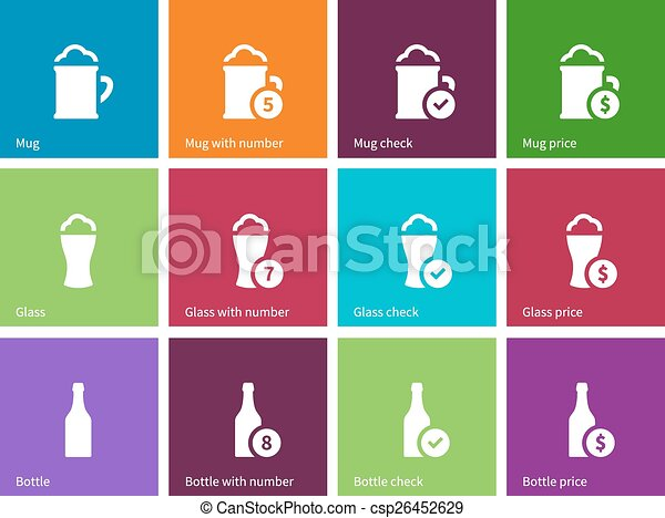 Beer icons on color background. - csp26452629