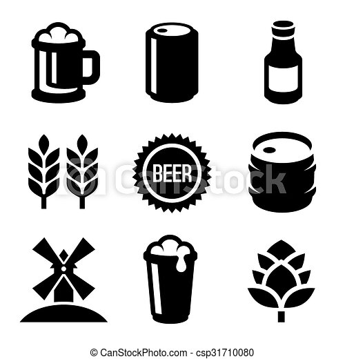 Beer Icons Set on White Background. Vector - csp31710080