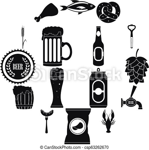Beer icons set, simple style - csp63262670